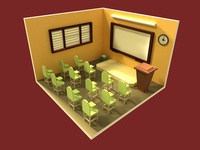 Isometric Low Poly Classroom