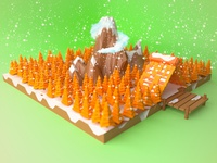 Lowpoly Mountain In Winter