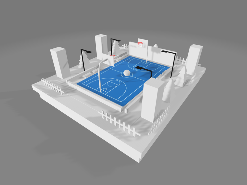 Lowpoly Minimalist Basketball on the way low poly design environment minimalist modeling graphics design 3d blender