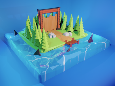 low poly 3d Island low poly design environment minimalist modeling graphics design 3d blender