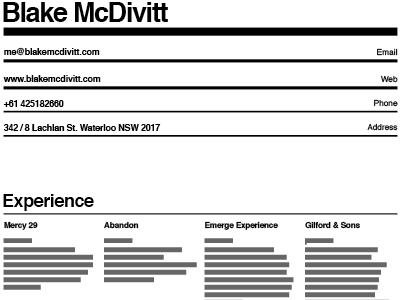 New Resume  resume print grid black white