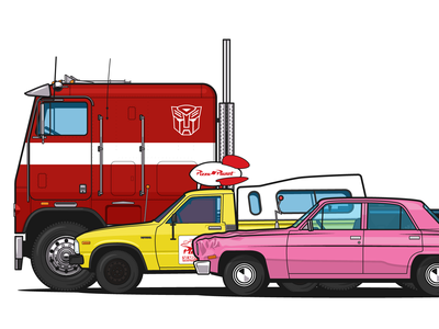 G1 Optimus Prime, Pizza Planet truck and Homer Simpson`s car optimus prime transformers freightliner toyota hilux simpsons vector illustrator illustration ai