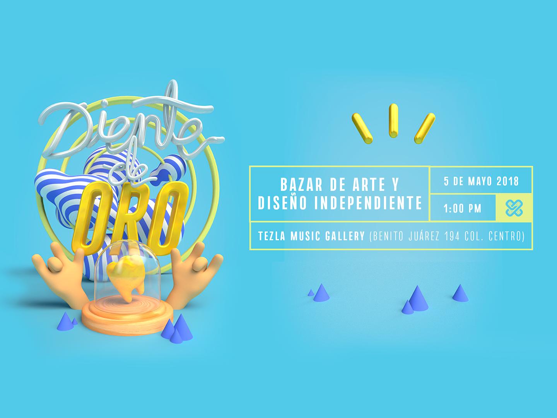 Diente de Oro logo render graphic  design poster cute typography méxico illustration maxon design cinema 4d designer animation 3d