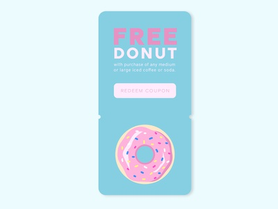 Daily UI #061 - Redeem Coupon shop redeem free donut discount coupon overlay popup illustration desktop mobile app ui interface ux design daily ui challenge daily ui