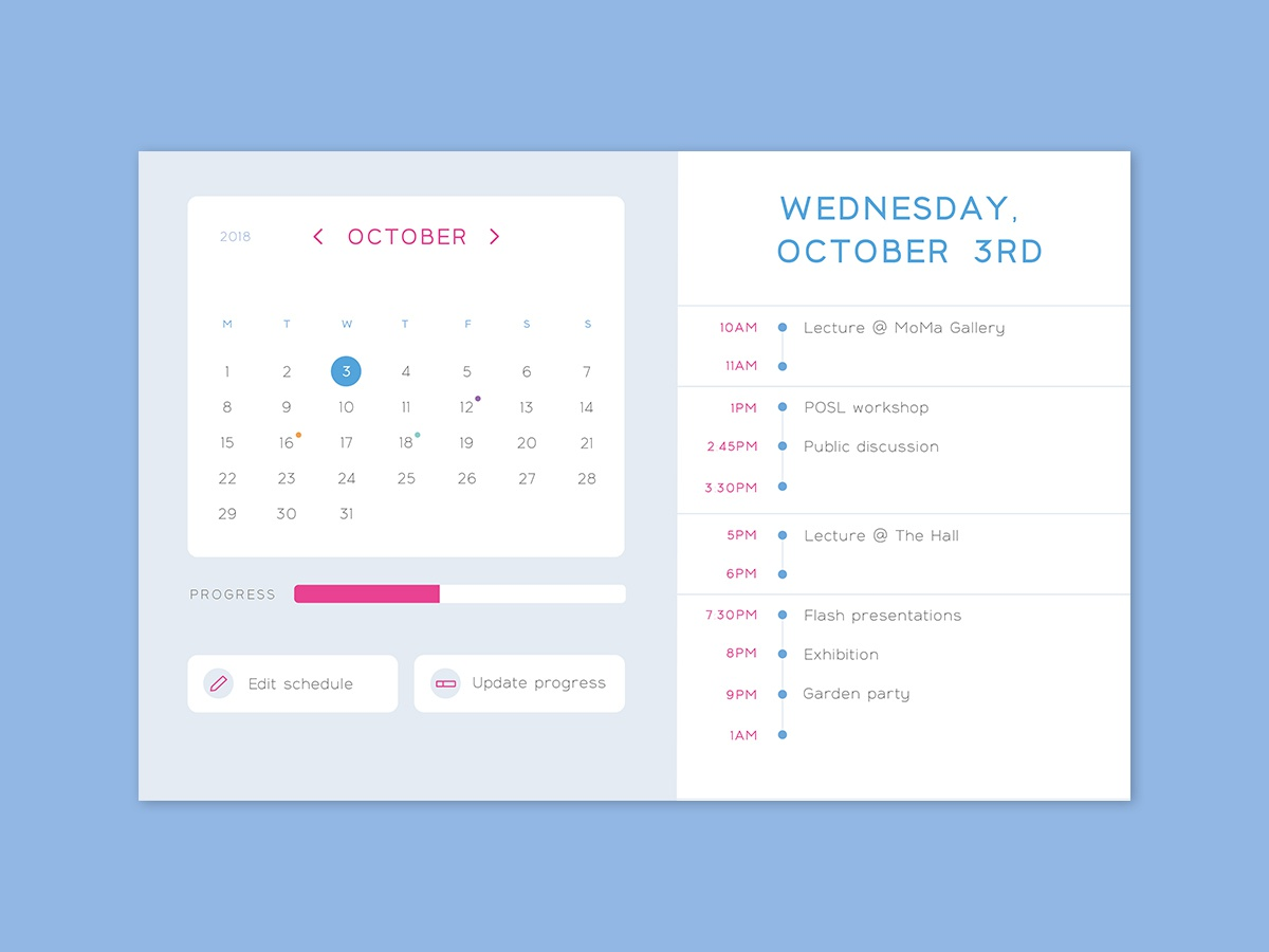 Daily UI #071 - Schedule update edit task todos calendar schedule list form typography desktop mobile app ui interface ux design daily ui challenge daily ui