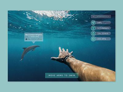 Daily UI #073 - Virtual Reality information diving swimming game interface screen rpg art augmentedreality vr virtualreality game desktop mobile app ux ui interface design daily ui challenge daily ui