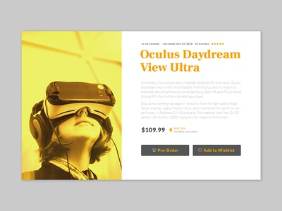 Daily UI #075 - Pre-Order vr technology product online shopping preorder order typography desktop mobile app ui ux interface design daily ui challenge daily ui