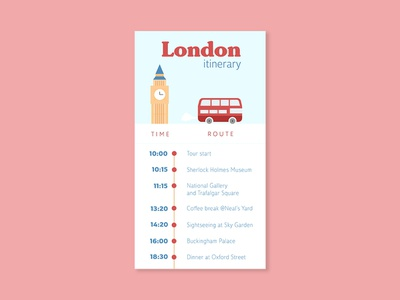 Daily UI #079 - Itinerary travel list todo plan route time tour schedule itinerary illustration typography desktop mobile app ui interface ux design daily ui challenge daily ui