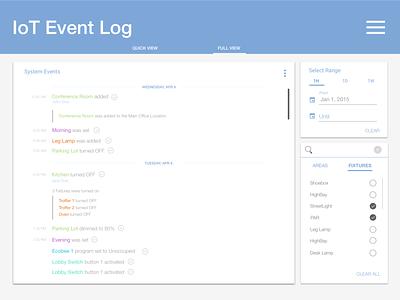 Event log, Energy usage, & Utility load shedding concept app iot ux ui