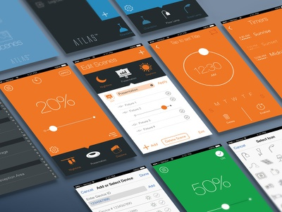 Atlas App Mockup ui design lighting control mockup slider interface