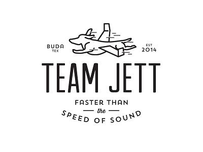 Team Jett wiener dog dachshund jet airplane logo texas races
