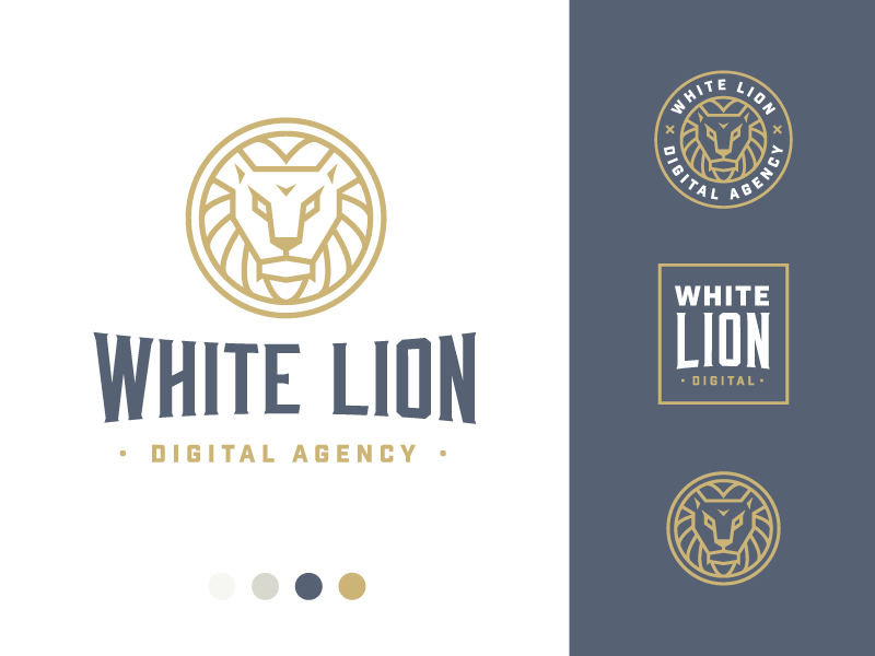 Dribbble white lion full 3