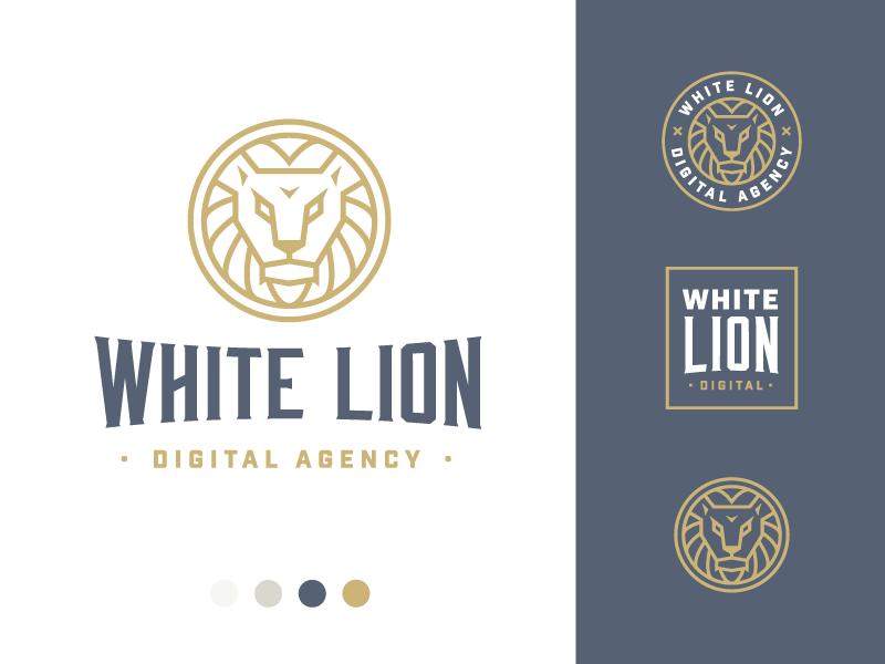 White Lion Full 3 symmetry circle brand logo lion