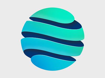Blue-Green Globe global green blue branding brand 3d icon emblem logo globe