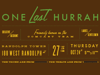 One Last Hurrah redacted halloween party typography
