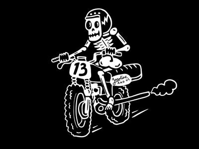 Live Fast, Die Happy flat track skeleton typography motorcycles illustraion gasoline and us