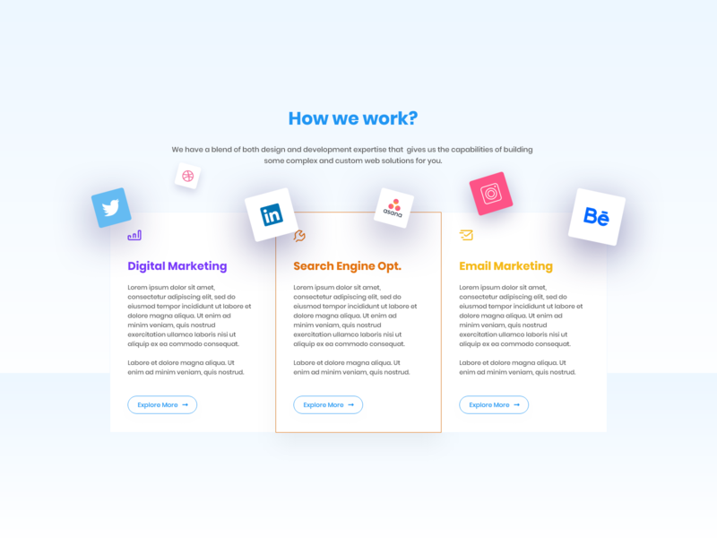 Our Services ui design minimal clean bootstrap column work