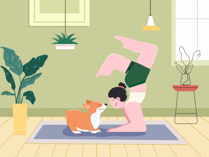 Home 瑜伽 柯基 home illustration