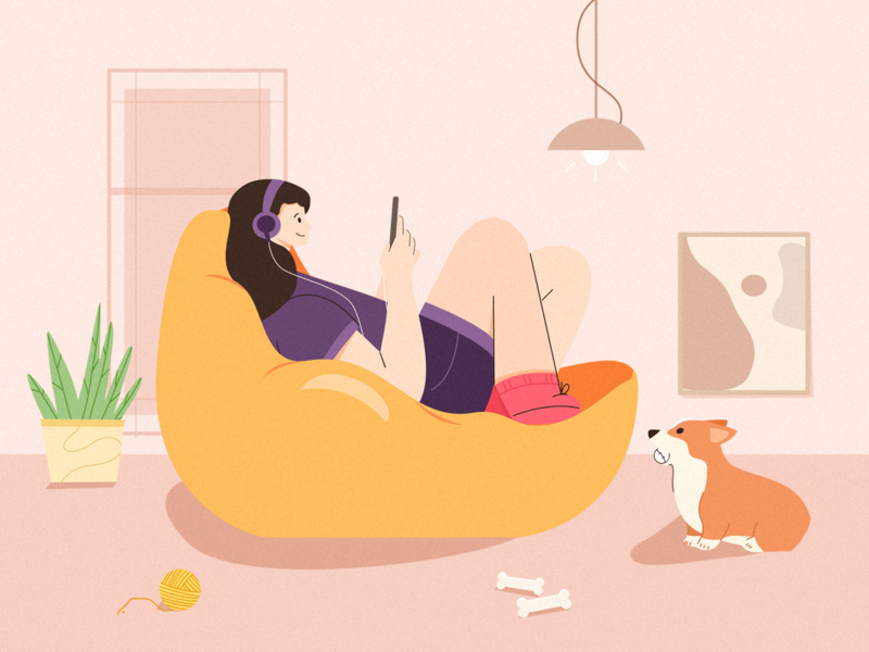 Ignore painting design love cute color ignore corgis home illustration