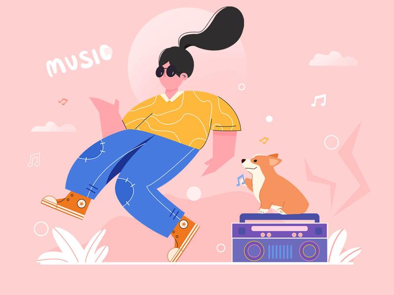 Music 音乐 music 柯基 cute color design illustration