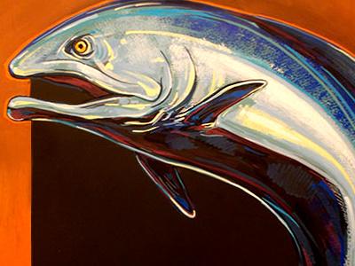 Salmon Sign Painting In Progress food animals fish painting illustration drawing sign chalk signs wfmsga