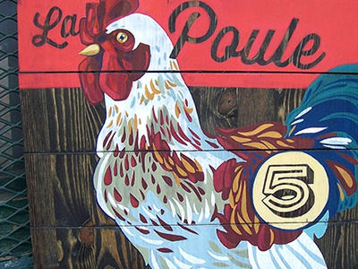 Painted Chicken Sign wood decor sign signage farm rustic vintage illustration design type