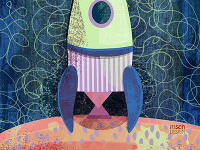 Rocket Ship! fun surface design rocket sci-fi illustration cute playful kids color vector texture