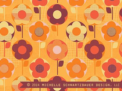 Retro Flowers retro pattern surface design floral illustration cute color texture vintage