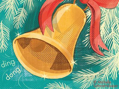 Christmas Bell holiday christmas vintage retro bell music illustration texture design