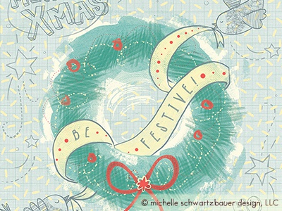 Holiday Birds illustration birds lettering doodle cute wreath christmas holiday