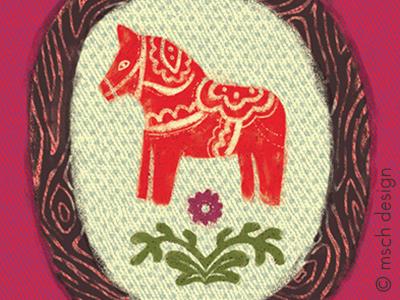 Dala Horse folk illustration norwegian swedish nordic design scandinavian horse dala