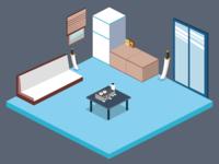 Isometric Flat Room Design