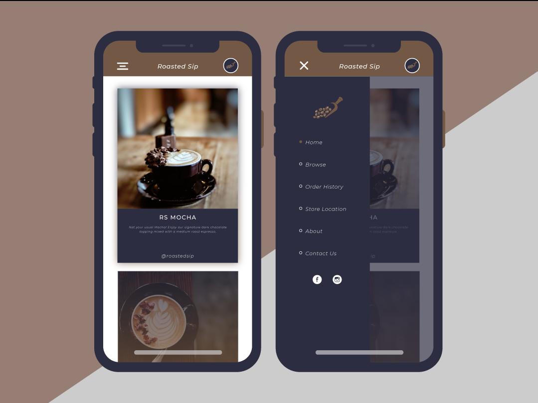 Roasted Sip UI/UX Design iphonex mobile ui  ux design roasted sip coffee