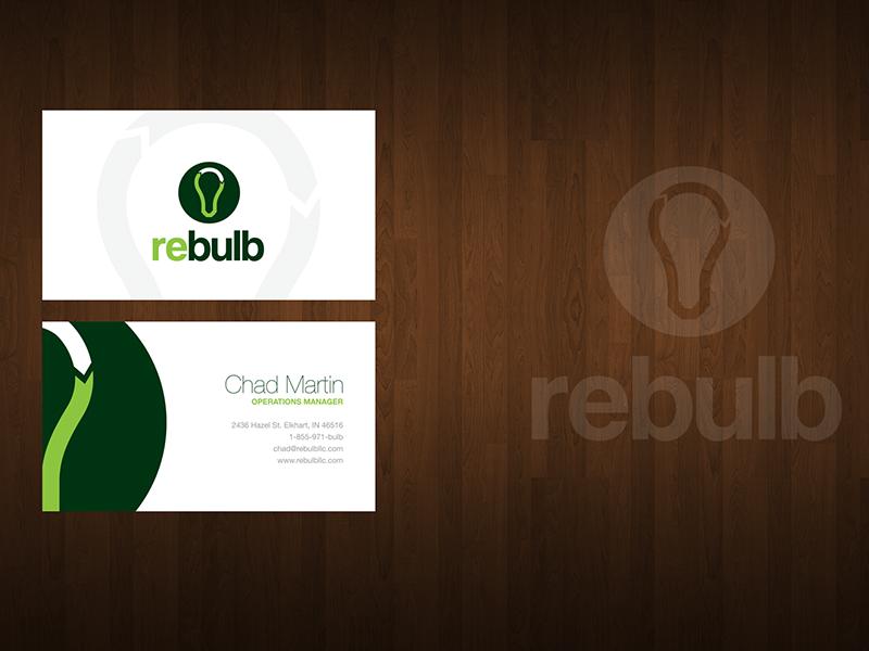 Rebulb Business Card eden creative business card design print green white bulb arrow card