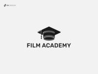 Film Academy Logo graduation cap school theater movie cinema academy education film dribbble company logo brand identity branding logo idea graphic design logo design logo