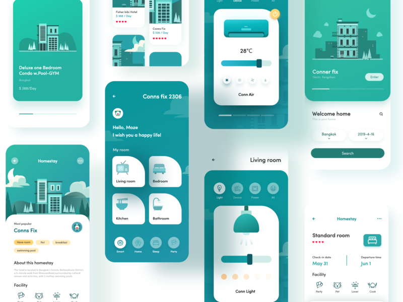 Homestay app ux design illustration ui