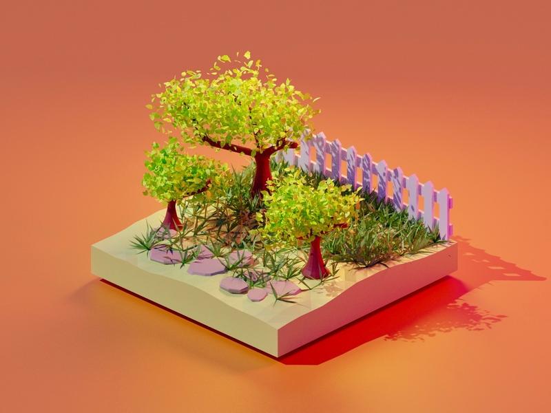 Garden 3D model - Blender 3D 3d polygon modeling 3d illustration polygon art 3d model 3d art blender 3d blender
