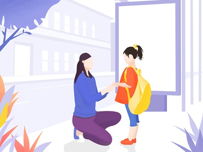 A normal day happy daughter school mother illustration