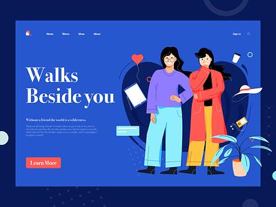 Friendship web design design illustration ui