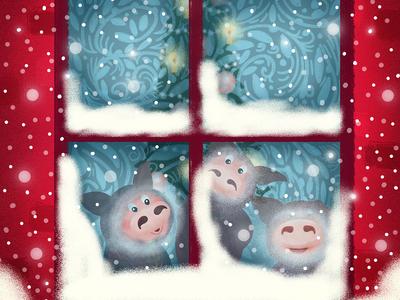 Winter Window winter piggy book illustration children book illustration cartoon illustration cartoon character cartoon character design character children illustration illustration