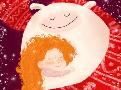 Warm And Love hug love girl yeti winter illustration children illustration children book illustration character design character cartoon illustration cartoon character cartoon book illustration