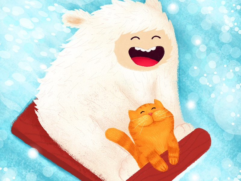 Forward! wacom tablet friendship friends adventure sled yeti winter cat illustration children illustration children book illustration character design character cartoon illustration cartoon character cartoon book illustration