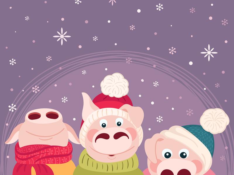 Oink 2019! vector illustration card winter piglet design friendship friends illustration children illustration character design character cartoon illustration cartoon character cartoon