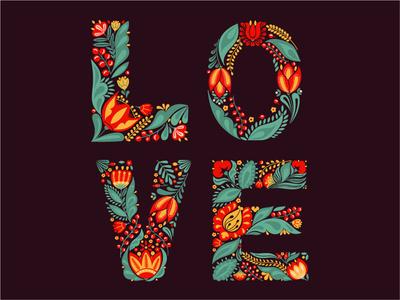 Love love card card design illustration lettering art lettering vector folk floral font flower letter letter art font love