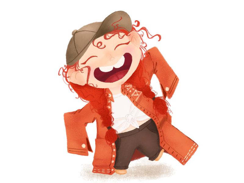 Happy Little Red Hair Girl girl character cute cartoon wacom tablet children book illustration book illustration children illustration character design character cartoon illustration cartoon character cartoon illustration