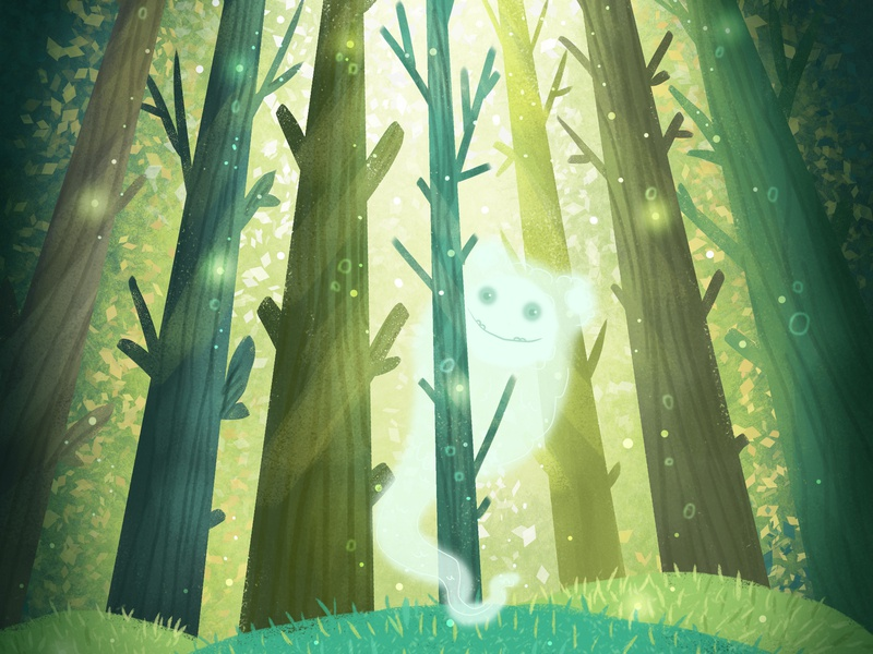 Magical forest forest ghost design children illustration book illustration cartoon illustration cartoon children book illustration illuatration