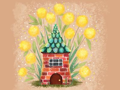 Tiny house in flowers wacom tablet print poster card cartoon children illustration cartoon illustration children book illustration book illustration illustration