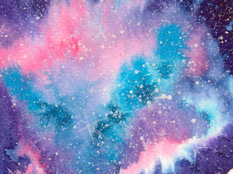 Galaxy M42 nightsky night space watercolor galaxy print fine art illustration