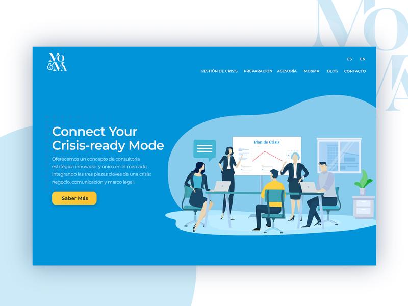 MO&MA | Crisis Management Consultants | Header Illustration conference room business crisis vector branding illustration web design ui
