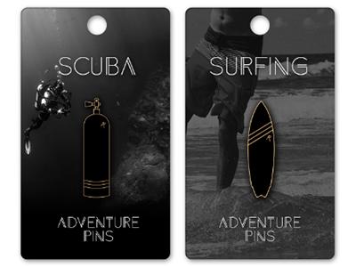 Adventure Pins - Coming soon scuba surfing sports adventures enamelpins